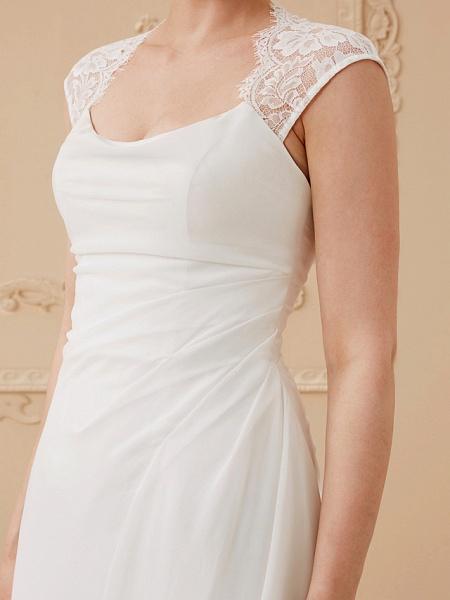 Sheath \ Column Wedding Dresses Square Neck Floor Length Chiffon Lace Cap Sleeve Simple Illusion Detail_6