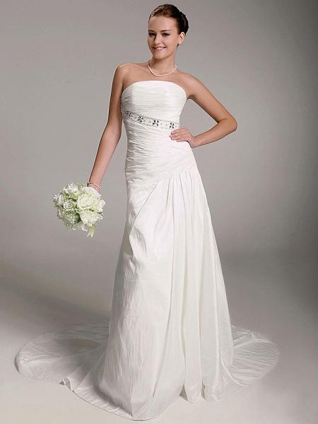 Princess A-Line Wedding Dresses Strapless Court Train Taffeta Sleeveless_2