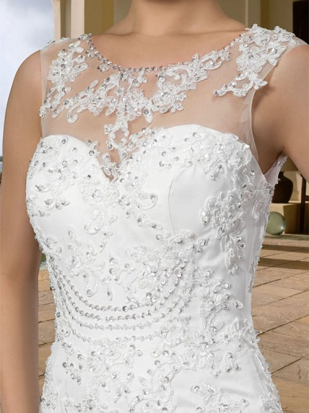 Mermaid \ Trumpet Wedding Dresses Scoop Neck Court Train Lace Regular Straps Country_4