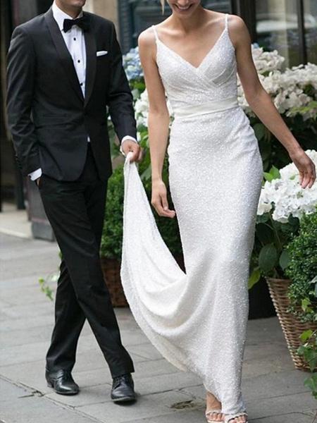 Mermaid \ Trumpet Wedding Dresses V Neck Spaghetti Strap Sweep \ Brush Train Satin Sequined Sleeveless Simple Backless_3