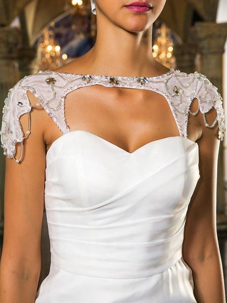 Mermaid \ Trumpet Wedding Dresses Sweetheart Neckline Sweep \ Brush Train Organza Tulle Cap Sleeve Formal Separate Bodies_11