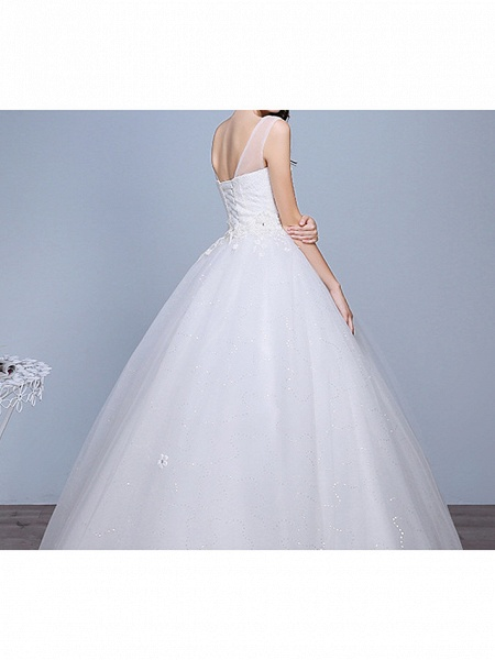 Ball Gown Wedding Dresses Sweetheart Neckline Floor Length Lace Tulle Polyester Sleeveless Romantic Glamorous Sexy_5
