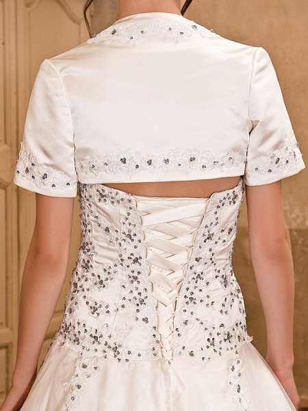 Ball Gown Wedding Dresses Strapless Floor Length Satin Short Sleeve Sparkle & Shine_6