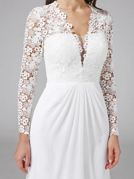 Sheath \ Column Wedding Dresses V Neck Sweep \ Brush Train Chiffon Floral Lace Long Sleeve Romantic Boho Illusion Sleeve_9