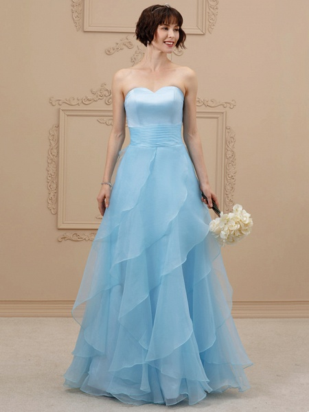 A-Line Wedding Dresses Sweetheart Neckline Floor Length Organza Satin Strapless Simple Plus Size Backless_1