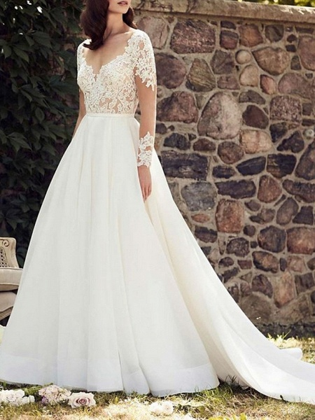 A-Line Wedding Dresses V Neck Court Train Lace Tulle Long Sleeve Illusion Sleeve_1