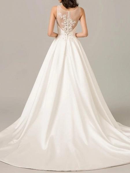 A-Line Wedding Dresses V Neck Sweep \ Brush Train Polyester Sleeveless Formal Plus Size_2