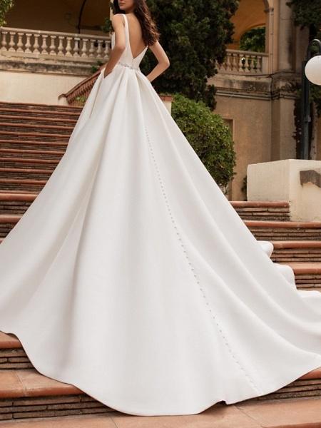 A-Line Wedding Dresses V Neck Court Train Satin Spaghetti Strap Simple Sparkle & Shine Backless_2