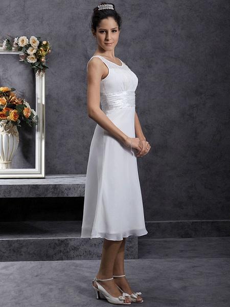 Sheath \ Column Wedding Dresses Scoop Neck Tea Length Chiffon Regular Straps Little White Dress_5