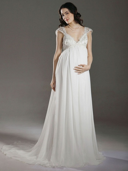 Sheath \ Column Wedding Dresses V Neck Court Train Chiffon Short Sleeve_1