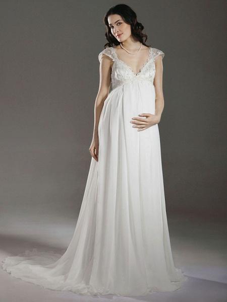 Sheath \ Column Wedding Dresses V Neck Court Train Chiffon Short Sleeve_1