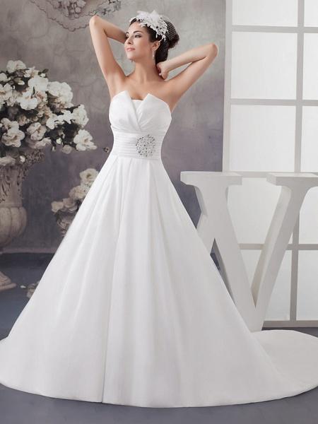 A-Line Wedding Dresses Strapless Chapel Train Satin Strapless_1