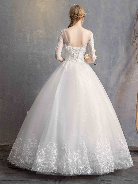 Ball Gown Wedding Dresses Scoop Neck Floor Length Lace Tulle Lace Over Satin Half Sleeve Country Vintage Illusion Sleeve_9