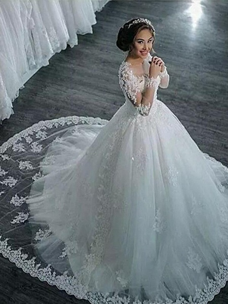 A-Line High Neck Court Train Lace Long Sleeve Country Glamorous Backless Illusion Sleeve Wedding Dresses_1