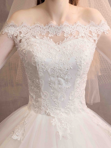 Ball Gown Wedding Dresses Off Shoulder Floor Length Lace Tulle Long Sleeve Romantic Illusion Sleeve_9