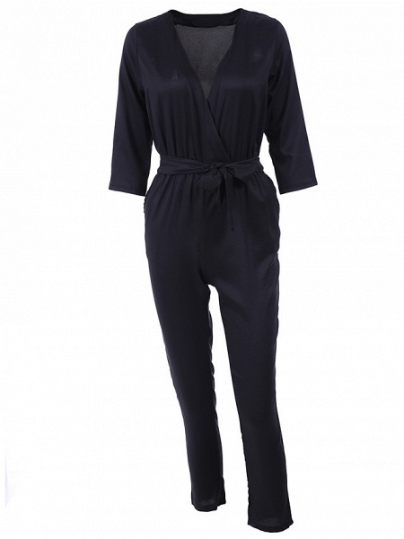 Women's Work Simple Jumpsuit - Solid Colored_11