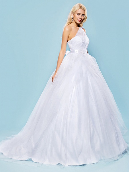 Ball Gown Wedding Dresses One Shoulder Court Train Tulle Sleeveless_2