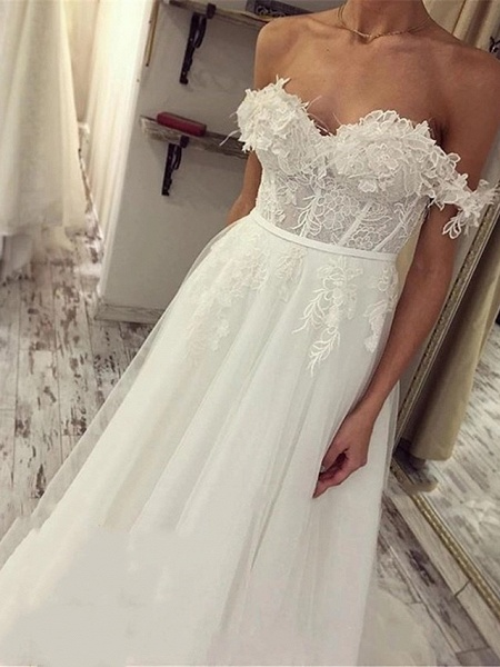 A-Line Wedding Dresses Off Shoulder Sweep \ Brush Train Lace Tulle Short Sleeve Sexy Plus Size_4