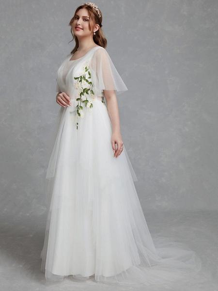 A-Line Wedding Dresses Jewel Neck Sweep \ Brush Train Tulle Short Sleeve Casual Boho Plus Size_3