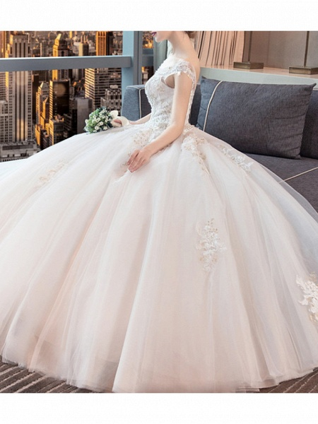 Ball Gown Wedding Dresses Jewel Neck Floor Length Lace Tulle Sleeveless Formal Plus Size_2