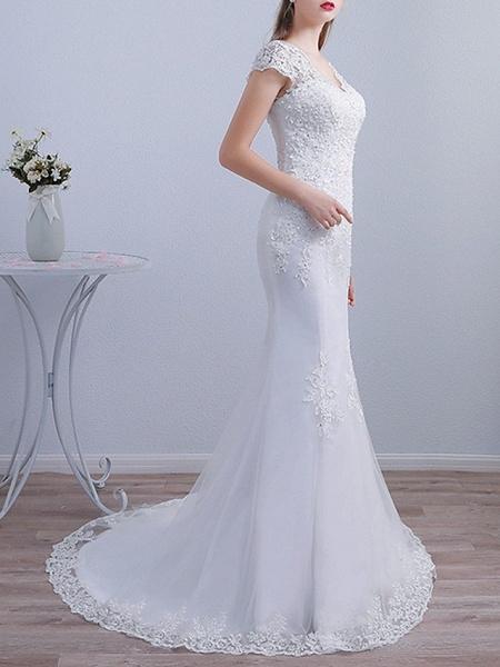 Mermaid \ Trumpet Wedding Dresses V Neck Sweep \ Brush Train Lace Short Sleeve Beach_2