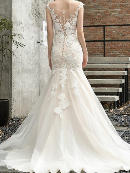 Mermaid \ Trumpet Wedding Dresses V Neck Sweep \ Brush Train Lace Tulle Sleeveless Formal Illusion Detail_3