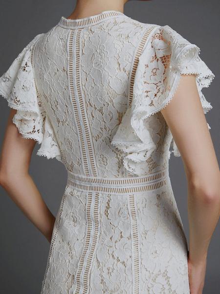 A-Line V Neck Sweep \ Brush Train Lace Sleeveless Boho Wedding Dresses_9