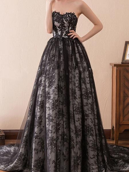 A-Line Strapless Sweep \ Brush Train Tulle Strapless Formal Black Modern Wedding Dresses_4