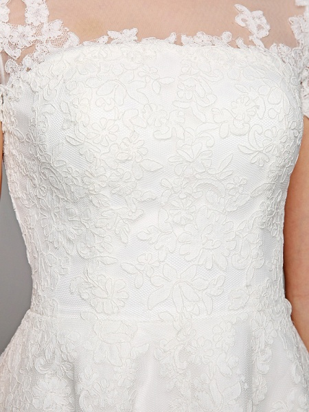 Ball Gown Wedding Dresses Bateau Neck Tea Length Lace Over Tulle Short Sleeve Formal Casual Illusion Detail Cute_3
