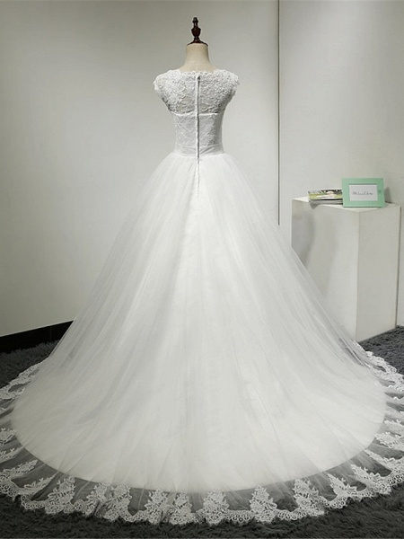 Ball Gown Wedding Dresses Scoop Neck Chapel Train Lace Over Tulle Cap Sleeve Glamorous Illusion Detail_2