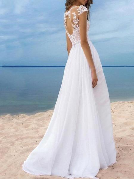 A-Line Wedding Dresses Off Shoulder Sweep \ Brush Train Chiffon Cap Sleeve_2