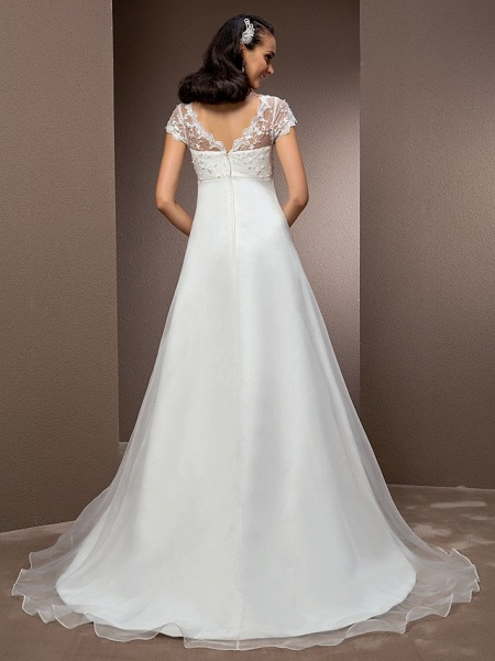 A-Line Wedding Dresses V Neck Court Train Lace Organza Short Sleeve Simple Vintage Little White Dress_2