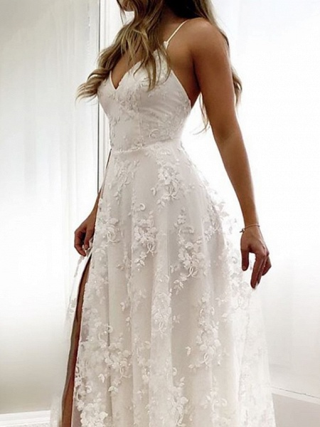 A-Line Wedding Dresses Spaghetti Strap Sweep \ Brush Train Lace Sleeveless Beach Sexy Backless_3