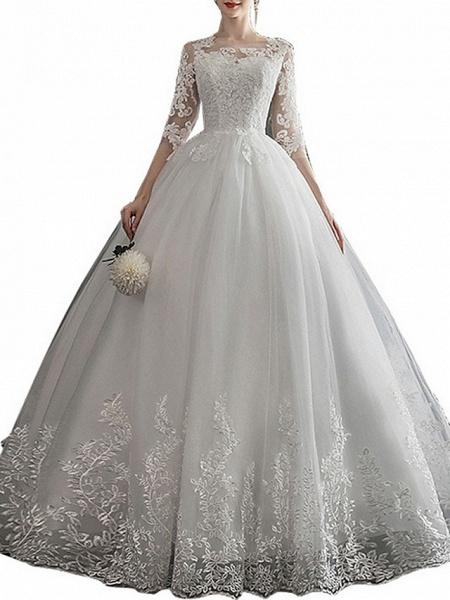 A-Line Wedding Dresses Jewel Neck Sweep \ Brush Train Lace Half Sleeve Glamorous See-Through Illusion Sleeve_4