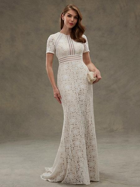Sheath \ Column Wedding Dresses Jewel Neck Floor Length Sheer Lace Short Sleeve Open Back See-Through_5