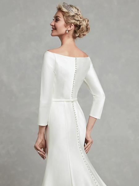 Mermaid \ Trumpet Wedding Dresses Bateau Neck Chapel Train Satin Long Sleeve Formal Little White Dress_8