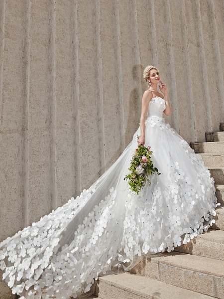 Ball Gown Wedding Dresses Strapless Court Train Tulle Strapless Country Glamorous Plus Size_14
