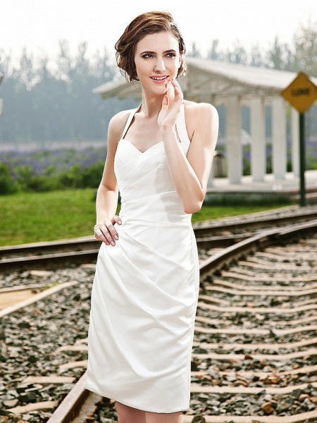 Sheath \ Column Wedding Dresses Halter Neck Short \ Mini Satin Regular Straps Little White Dress_3