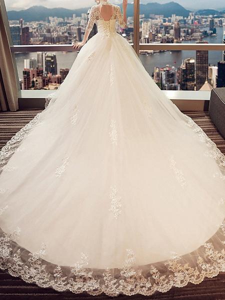 A-Line Wedding Dresses High Neck Sweep \ Brush Train Lace 3\4 Length Sleeve Beach_2