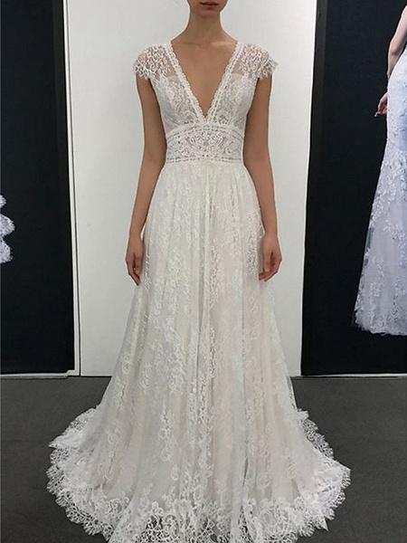 A-Line V Neck Court Train Sweep \ Brush Train Lace Cap Sleeve Romantic Wedding Dresses_1