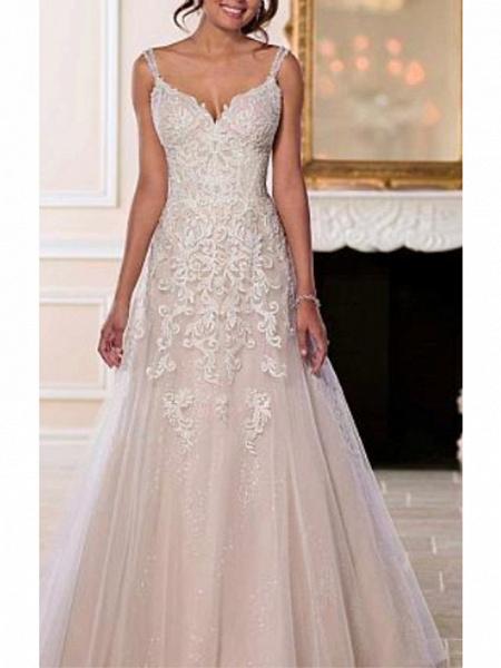 A-Line Wedding Dresses V Neck Sweep \ Brush Train Chiffon Tulle Spaghetti Strap Romantic Illusion Detail Backless_1
