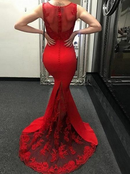 Mermaid \ Trumpet Wedding Dresses Jewel Neck Sweep \ Brush Train Polyester Regular Straps Romantic Plus Size Red_2