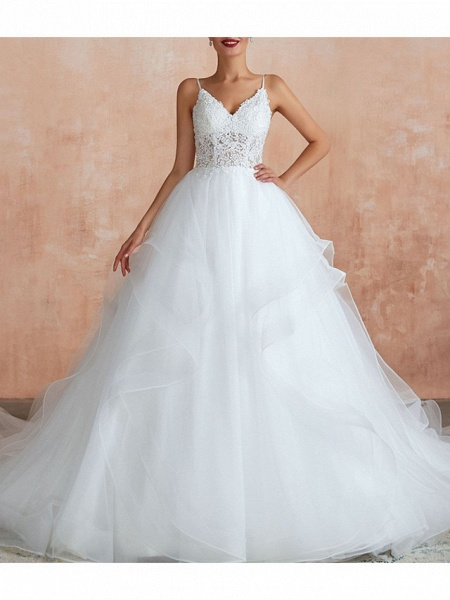 A-Line V Neck Court Train Lace Tulle Sleeveless Sexy See-Through Illusion Detail Wedding Dresses_2