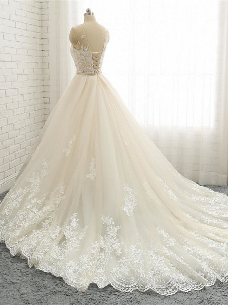 Mermaid \ Trumpet Jewel Neck Chapel Train Lace Tulle Lace Over Satin Regular Straps Formal See-Through Wedding Dresses_2