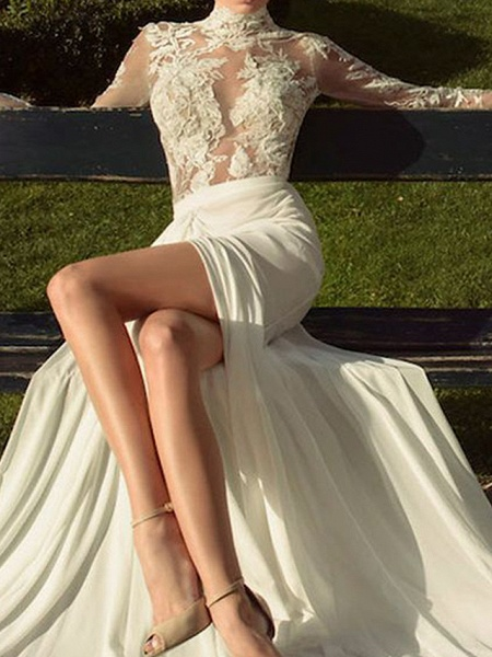 A-Line Wedding Dresses High Neck Court Train Lace Polyester Long Sleeve Country Illusion Sleeve_2