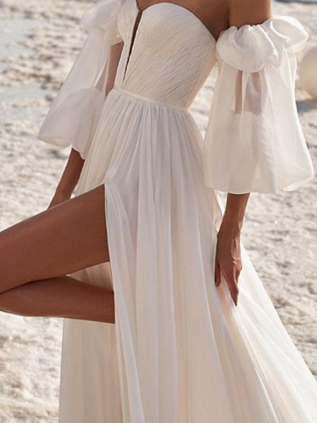 A-Line Wedding Dresses Off Shoulder Strapless Court Train Chiffon Over Satin 3\4 Length Sleeve Sexy_3
