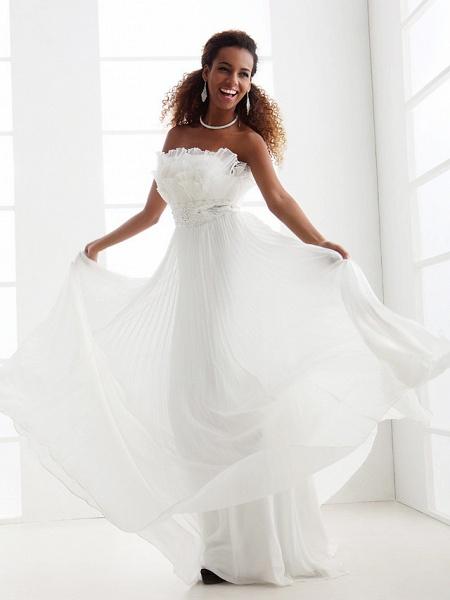 Sheath \ Column Wedding Dresses Scalloped-Edge Sweep \ Brush Train Chiffon Sleeveless_4