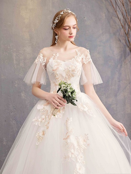 Ball Gown Wedding Dresses Bateau Neck Maxi Lace Tulle Short Sleeve Glamorous See-Through Backless_2