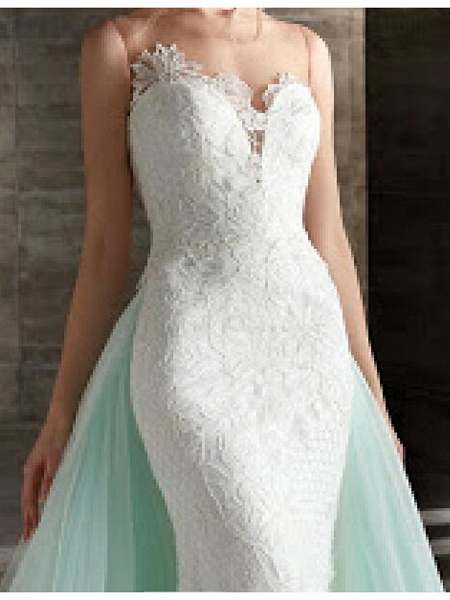 Mermaid \ Trumpet Wedding Dresses Strapless Sweep \ Brush Train Lace Strapless Country Plus Size_3