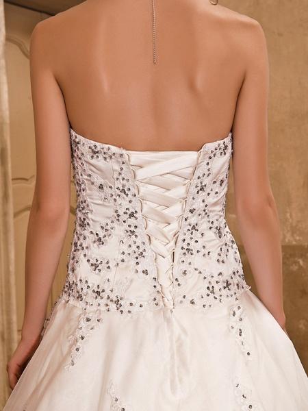Ball Gown Wedding Dresses Strapless Floor Length Satin Short Sleeve Sparkle & Shine_10
